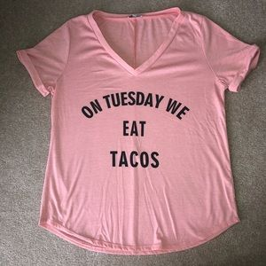 On Tuesday We Eat Tacos Pink/Peach V-Neck Tee